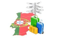 Portugal loppbegrepp Portugisisk översikt med resväskor och signp royaltyfri illustrationer