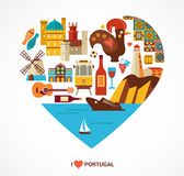Portugal love - heart with vector icons Stock Photography