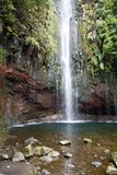 Portugal, Madeira, Waterfall 25 Fontes near Rabacal. Beautiful waterfall 25 Fontes in the rain forest near Rabacal, Madeira, Portugal stock photography