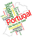 Portugal map and cities. Portugal map and words cloud with larger cities Stock Images