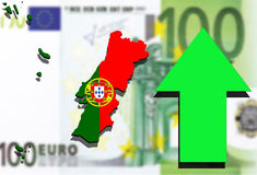 Portugal map on Euro money background green arrow rising Stock Photos