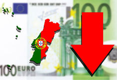Portugal map on Euro money background and red arrow down Stock Photos