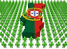 Portugal map flag with many peop Stock Photography