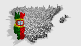 Portugal map with flag mounted over blocks Stock Images
