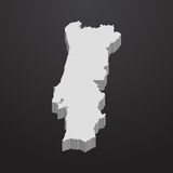 Portugal map in gray on a black background 3d. Portugal  map in gray on a black background 3d Stock Photo