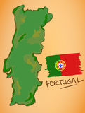 Portugal Map and National Flag Vector Stock Photos