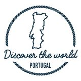Portugal Map Outline. Vintage Discover the World. Portugal Map Outline. Vintage Discover the World Rubber Stamp with Portugal Map. Hipster Style Nautical Rubber royalty free illustration
