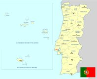 Portugal map - cdr format Royalty Free Stock Image