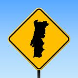 Portugal map on road sign. Square poster with Portugal country map on yellow rhomb road sign. Vector illustration royalty free illustration