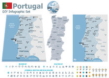 Portugal maps with markers Royalty Free Stock Photos