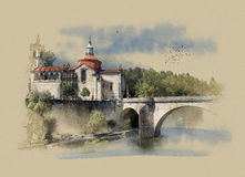 Portugal, the Monastery Of Sao Goncalo in Amarante, watercolor sketch Stock Photography