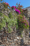 Portugal, Monsaraz . Medieval walls of buildings and fences. Stock Photography