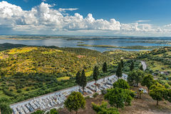 Portugal, Monsaraz . View from the fortress walls to Spain. Stock Image