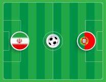 Portugal mot Iran Bästa sikt av en illustration av ett fotbollfält med runda flaggor av lag vektor Arkivfoto