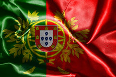 Portugal National Flag With Coat Of Arms Wawving In The Wind 3D Stock Photo