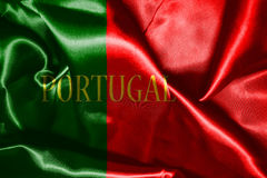 Portugal National Flag With Country Name Written On It 3D illust Royalty Free Stock Photos