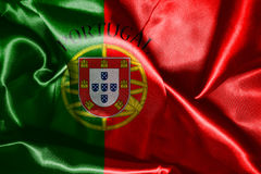 Portugal National Flag With Country Name Written On It 3D illust Royalty Free Stock Image