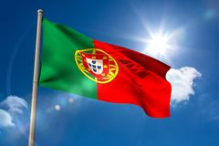 Portugal national flag on flagpole Royalty Free Stock Photo
