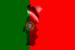 Portugal National Flag With Map Of Portugal On It 3D illustratio Royalty Free Stock Images