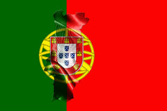 Portugal National Flag With Map Of Portugal On It 3D illustratio Stock Photo