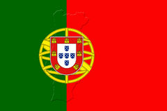 Portugal National Flag With Map Of Portugal On It 3D illustratio Royalty Free Stock Photos