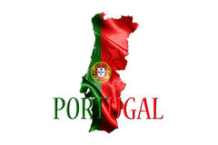 Portugal National Flag With Map Of Portugal On It 3D illustratio Stock Image