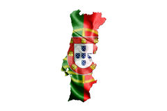 Portugal National Flag With Map Of Portugal Isolated On White Ba Stock Photography