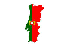 Portugal National Flag With Map Of Portugal Isolated On White Ba Royalty Free Stock Image