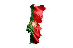 Portugal National Flag With Map Of Portugal Isolated On White Ba Stock Image