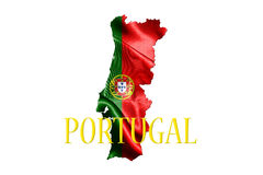Portugal National Flag With Map Of Portugal And Name Of The Coun Royalty Free Stock Photography