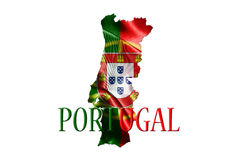 Portugal National Flag With Map Of Portugal And Name Of The Coun Stock Images