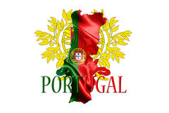 Portugal National Flag With Map Of Portugal And Name Of The Coun Royalty Free Stock Photo