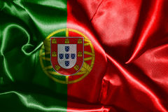Portugal National Flag Waving In The Wind 3D illustration Stock Image