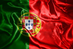 Portugal National Flag Waving In The Wind 3D illustration Stock Photography