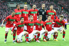 Portugal - national football team. WARSAW, POLAND - FEBRUARY 29: Portugal national football team players before friendly game against Poland on February 29, 2012 Royalty Free Stock Images