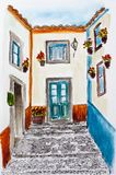 Portugal.  Obidos. City sketch. Portugal. An ancient picturesque street in the ancient city of Obidos. Watercolor drawing Stock Photo
