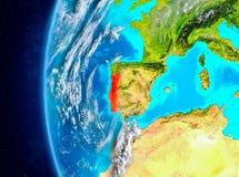 Portugal på jord från utrymme Royaltyfri Foto