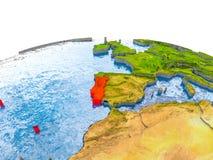 Portugal på modell av jord Royaltyfria Bilder