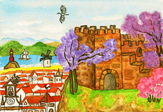 Portugal, painting. Hand painted picture, watercolours. Series Places of the World, Portugal Royalty Free Stock Photography