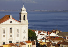 Portugal. Panorama of Lisbon in the evening Stock Photos