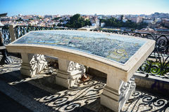 portugal Panoramautsikt av den gamla staden Lissabon från Miradouro S Royaltyfria Foton