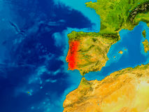 Portugal on physical map Royalty Free Stock Photography