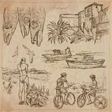 Portugal. Pictures of Life. Vector pack. An hand drawn pack, Travel - PORTUGAL, Pictures of Life. Description - Vectors, freehand sketching. Editable in layers Royalty Free Stock Images