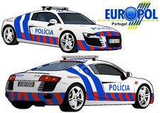 Portugal Police Car. Colored Illustration from Series Europol, Vector Royalty Free Stock Images