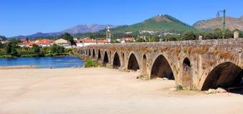 Portugal, Ponte de Lima: ancient roman Bridge. Portugal, Ponte de Lima: blue sky and the ancient roman Bridge stock photography