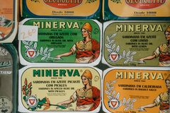 Portugal, Porto, 05 May 2018: Canned Minerva On The Counter Store For Sale Royalty Free Stock Photo