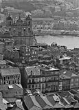 Portugal. Porto. Aerial view over the city. In black and white Royalty Free Stock Photos