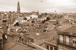 Portugal. Porto. Aerial view. Sepia-toned Stock Photos