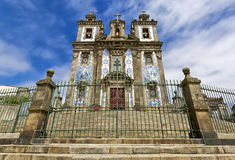 Portugal, Porto: Church of Santo Ildefonso was built during the 17th century; the facade with two towers is completely covered wit Stock Images