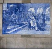 Portugal, Porto: estação de comboio velha, azulejos fotografia de stock royalty free